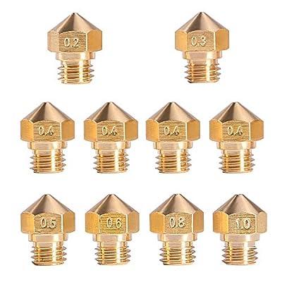 MK10 Nozzle for 3D Printer, M7 Thread Brass Extruder Head Hotend Nozzle 1.75mm Filament, 4Pcs 0.4mm + 1Pcs x (0.2 0.3 0.5 0.6 0.8 1.0mm)