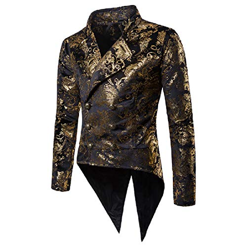 Tootless-Men Notch Lapel Patch Tailcoat Paisley Dance Party Blazer Golden XL