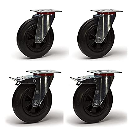 LOT991 - Lote de 4 ruedas giratorias y freno, diámetro de 100 mm, goma, enmarcado de chapa ...