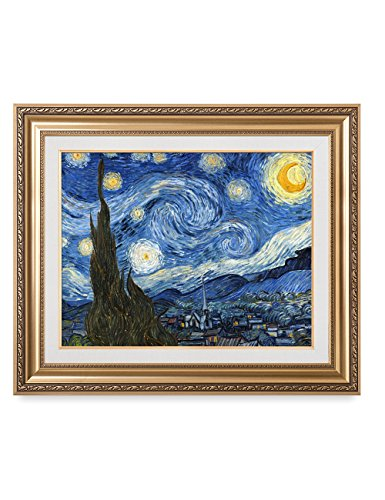 DecorArts - Starry Night, Vincent Van Gogh Art Reproduction. Giclee Print w/ Gold Framed Art for Wall Decor. 30x24