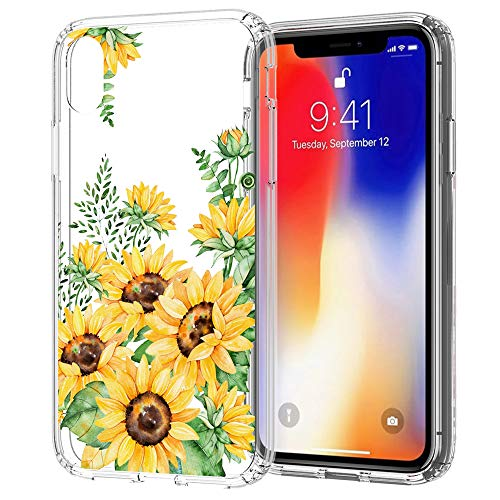 Flocute Clear Floral Pattern Case for iPhone XR Slim Girly Flower Clear Protective Case with Soft TPU Bumper Hard PC Back Cover - (Sunflower)