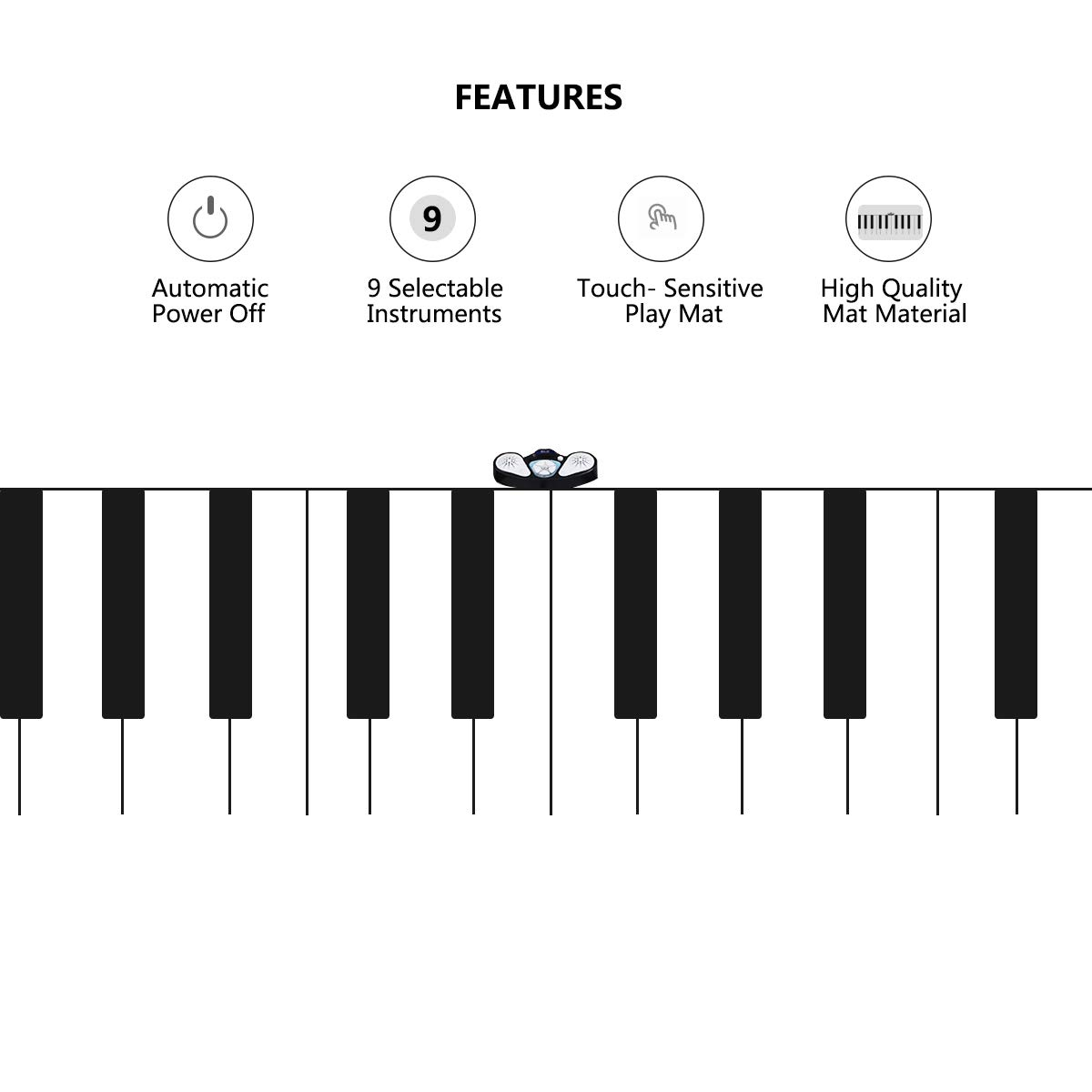 Costzon Giant Keyboard Playmat, 24 Keys Piano Play Mat, Foldable Activity Mat w/ 9 Selectable Musical Instruments, Play - Record - Playback - Demo - Tone Conversion Modes, Support MP3, Phone Play by Costzon (Image #2)