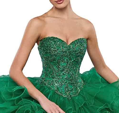 0c2605c8bf HuaMao Women s Sequins Ruffled Big Girls  Pageant Sweet 15 Prom Quinceanera  Dresses