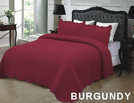 Homemusthaves 3PCS Quilt Set Solid Color Design Quilt Bedspread Bed Coverlet (King (102x94 Inches), Burgundy)
