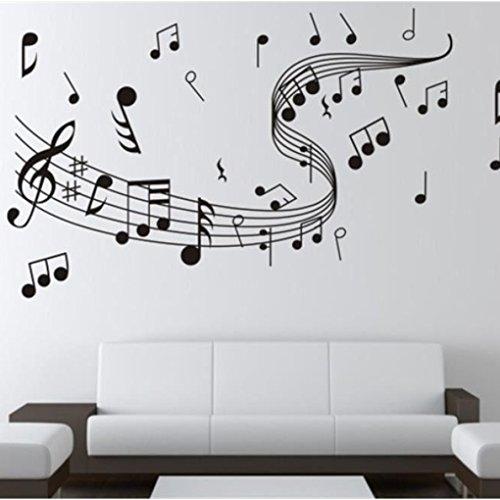Topker Notes de Musique Wall Art Sticker Amovible Vinyle Stickers muraux Décoration