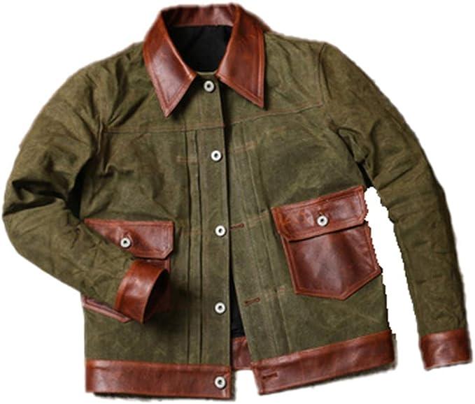 アーミースタイル本物の牛革キャンバスコート牛革ワックス水プルーフジャケット
