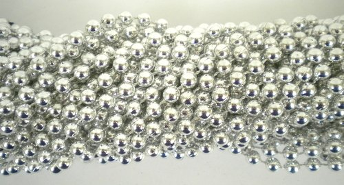 - 33 inch 07mm Round Metallic Silver Mardi Gras Beads - 6 Dozen (72 necklaces)
