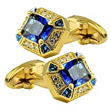 Daptsy Luxury Gold Exquisite Square Big Blue Crystal Cufflinks, Beautiful Retro Design, Whale Back Cufflinks