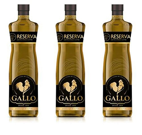 Oil Rooster - Set of 3 Extra Virgin Olive Oil Victor Guedes El Gallo Reserve Aceite de Oliva Premium Extra Virgen From Portugal (75.9Oz 2250 ml)