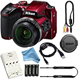 Nikon COOLPIX B500 (Red) 16MP 40x Optical Zoom Digital Camera Bundle includes Camera, 4 AA Rechargeable Batteries + Charger, Cables and More + DigitalAndMore FREE Accessory Bundle