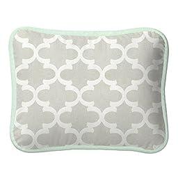 Carousel Designs French Gray and Mint Quatrefoil Decorative Pillow Rectangular