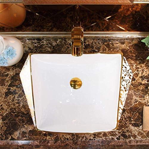 Yadianna カウンタートップ浴室のシンクセラミック洗面手塗りの容器シンクバスルームのシンクバスルームのシンクボウル磁器アート