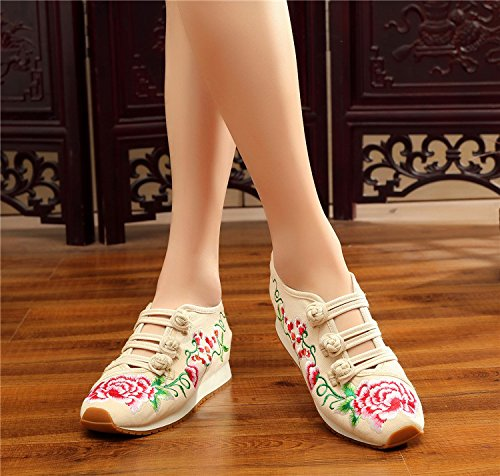 Traveling Womens Wedge Flats Ladies Students Shoes Fanwer Shoes Sneakers Walking Beige Embroidery YA4Yq1