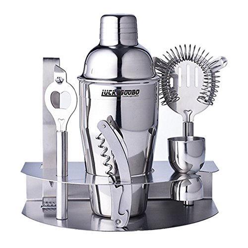 Luckygoobo Cocktail Bar Set 100% Stainless Steel 7 Piece Bar Tool Set – With 18.7 oz Bartenders Professional Shaker, Strainer, Jigger, Liquor Pourers,Opener ,Lce Clip and More by Luckygoobo