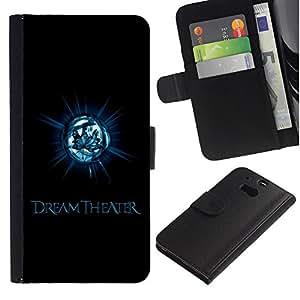 Ihec-Tech / Flip PU Cuero Cover Case para HTC One M8 - Cool Dark Leaf Theater Metal Rock Band