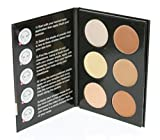 Cameo Cosmetics 6 Shades Contour Kit, Light Colors, Sleek Makeup Palette For Highlighting and Contouring, Step By Step Instructions Included