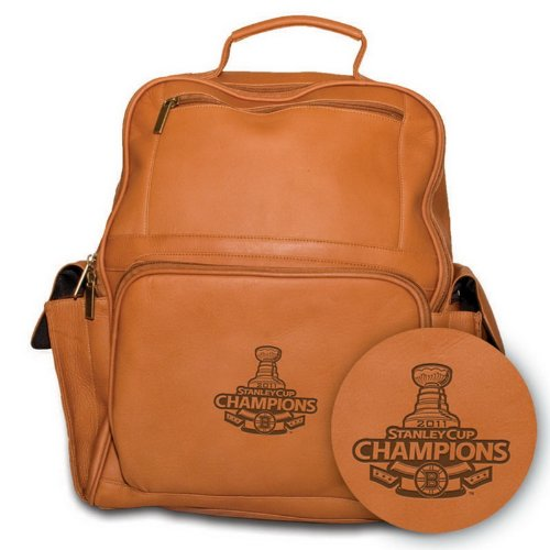 NHL 2011 Boston Bruins Pangea Tan Leather Large Backpack -Stanley Cup Champions