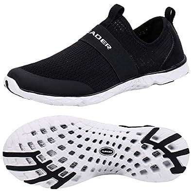 ALEADER Men's Quick-Dry Aqua Water Shoes Black/White 7 D(M) US