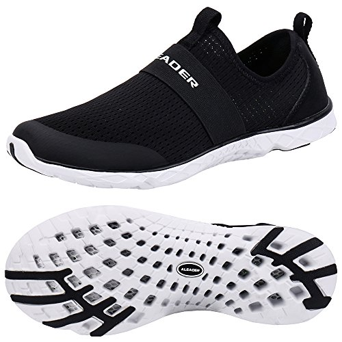 ALEADER Men's Quick-Dry Aqua Water Shoes Black/White 13 D(M) US