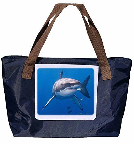 Shopper /Schultertasche / Einkaufstasche / Tragetasche / Umhängetasche aus Nylon in Navyblau - Größe 43x33cm - Motiv: Der Weiße Hai im Ozean - 01
