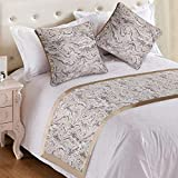 EMME Albaster Bed Runner Scarf European Style Bedding Protector Luxury Jacquard Weave Slipcover with Satin Hemming Table Runner Bed Decorative Scarf for Bedroom Hotel Wedding Room (King/Cal. King)