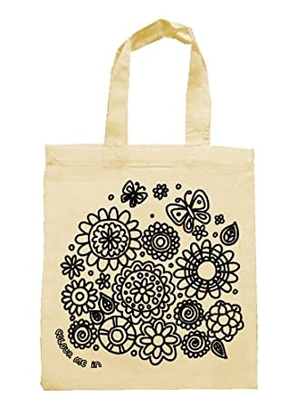 Party bags for kids to colour in printed outline kids craft flowers design