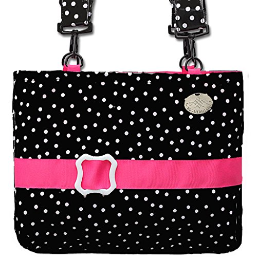 Jet Black Polka Dot Pink Trimmed Waterproof Demi-Premier Bag - 13