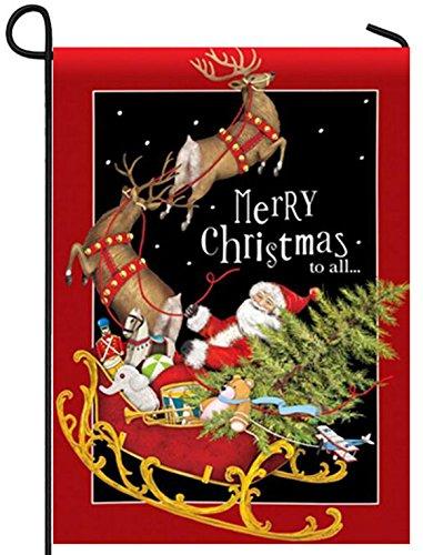 Santa's Sleigh Christmas Garden Flag Presents Boxes Reindeer Tree 12.5 x 18 inch