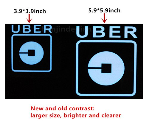 Uber Sign LED Light Sign Logo Sticker Decal Glow Wireless Decal Accessories Removable Uber Lyft Glowing Sign for Car Taxi Uber Lyft Light up Dry Battery Power by Invert Earth (Image #1)