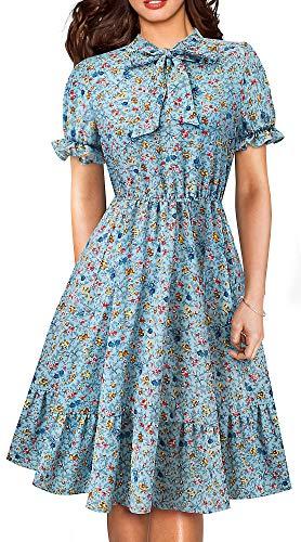 - HOMEYEE Women's Long Sleeve Casual Polka Dot Aline Swing Dress A130(12,Light Blue+Floral-Short Sleeve)