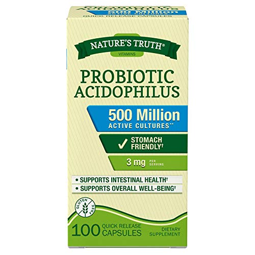 Nature's Truth Probiotic Acidophilus 3 mg Dietary Supplement Quick Release Capsules - 100 ct, Pack of 6