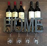 Kitchen & Housewares : Wall Mounted Metal Wine Rack 4 Long Stem Glass holder & Wine Cork Storage By Soduku