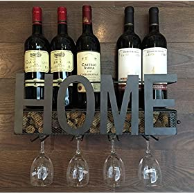 SODUKU Wall Mounted Metal Wine Rack 4 Long Stem Gl...
