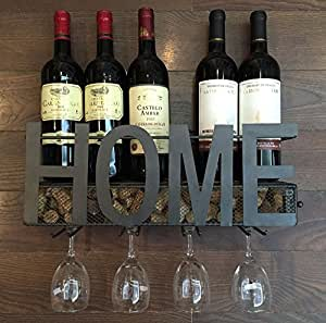 Amazon.com: Wall Mounted Metal Wine Rack 4 Long Stem Glass holder ...