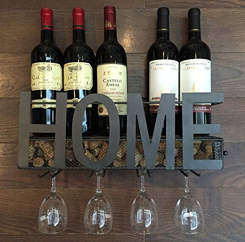 Soduku Wall Mounted Metal Wine Rack 4 Long Stem Glass Holder Wine Cork Storage
