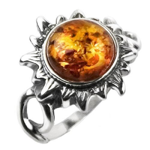 Honey Amber and Sterling Silver Medium Flaming Sun Ring Sizes (Happy Halloween Silver Shamrock)