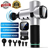 Massage Gun, Upgraded 6 Adjustable Speeds Handheld Vibration Deep Tissue Muscle Massager Device - with 6 Massage Heads and Portable Bag for Deep Muscle Tissue Massage