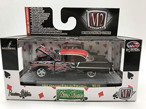 M2 Machines Wild-Cards 1955 Chevrolet Bel Air Hardtop WC10 15-56 Black/Red Flame Details Like NO Other! Over 42 Parts Chevrolet Bel Air Hardtop