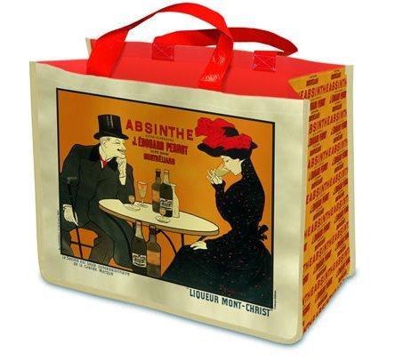 Borsa riutilizzabile per la spesa, shopper, stile francese Absinthe montata, per la vita.