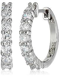 Plated Sterling Silver Hinged Huggie Hoop Earrings