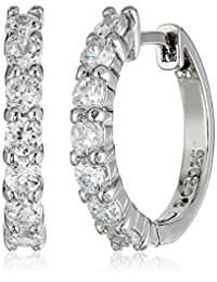 Amazon Essentials Plated Sterling Silver Hinged Huggie Hoop Earrings
