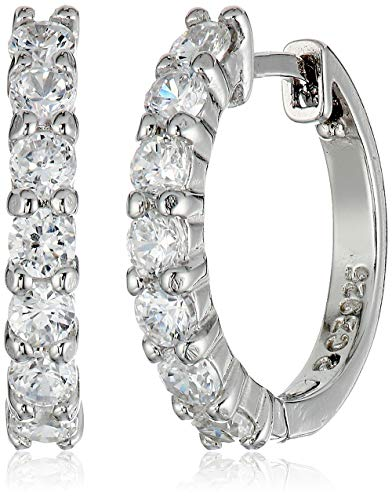 Amazon Essentials Sterling Silver Hinged Huggie Hoop Earrings (Hoop Sterling Small Earrings)