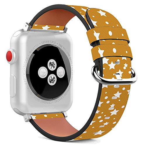 - Compatible with Apple Watch - 38mm Leather Wristband Bracelet with Stainless Steel Clasp and Adapters - Mustard Yellow Stars