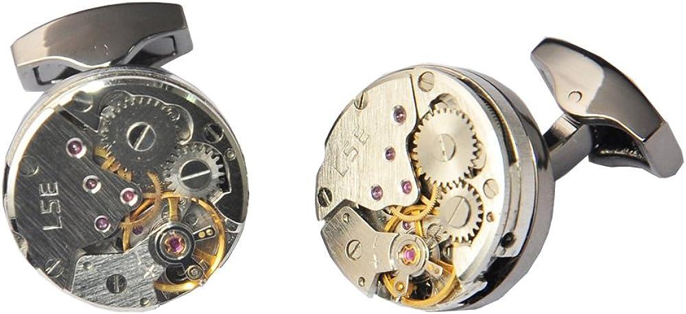 D&L Menswear Mechanical Gear Steampunk Watch Movement Round Cufflinks With Black Gift Box