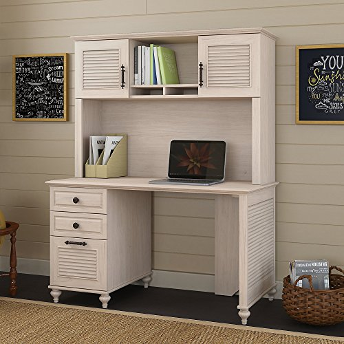 kathy ireland Home by Bush Furniture Volcano Dusk 51W Desk with Hutch and 3 Drawer Pedestal in Driftwood Dreams
