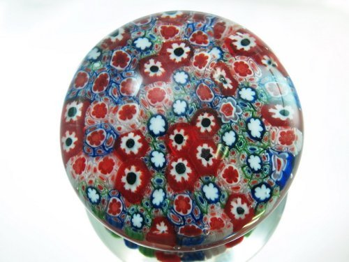 (M Design Art Handcraft Rainbow Mix Millefiori Glass Paperweight 01)
