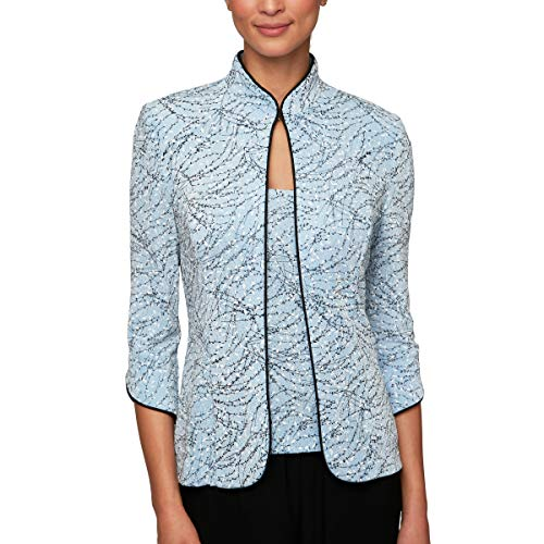 Alex Evenings Women's Petite Printed Mandarin Neck Twinset Tank and Jacket, Periwinkle X-LargeP (Periwinkle Blue Mother Of The Bride Dresses)