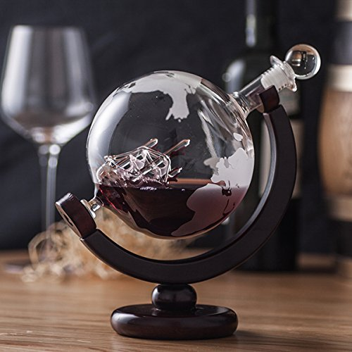 ZARIFINTERNATIONAL 850ml Global Wine Whiskey Decanter with Antique Ship inside and Wooden Stand by ZARIFINTERNATIONAL (Image #2)