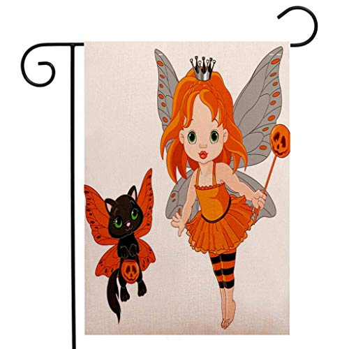 Custom Double Sided Seasonal Garden Flag Halloween Halloween Baby Fairy and Her Cat in Costumes Butterflies Girls Kids Room Decor Decorative Welcome House Flag for Patio Lawn Outdoor Home Decor -