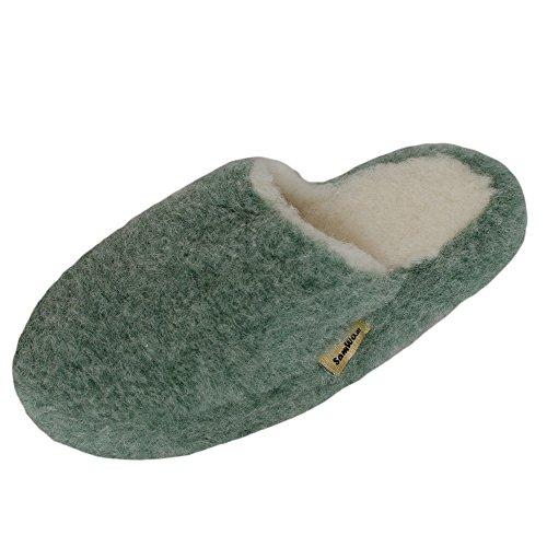SamWo Schafwoll-Wohlfühl-Hausschuhe/Pantoffeln,Weiche Rutschfeste Sohle,100% Schafwolle SWH 37-38 | Grün